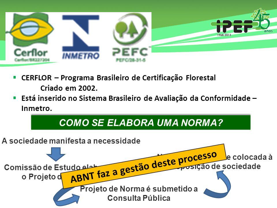  CERFLOR – Programa Brasileiro de Certificação Florestal Criado em 2002.