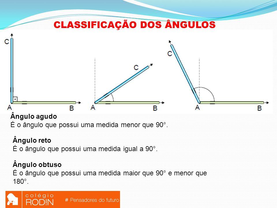 CLASSIFICAÇÃO DOS ÂNGULOS Ângulo agudo É o ângulo que possui uma medida menor que 90°.
