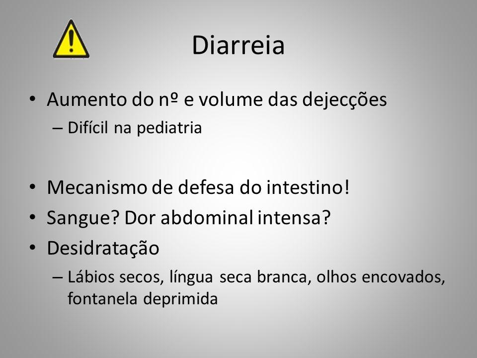 Diarreia Aumento do nº e volume das dejecções – Difícil na pediatria Mecanismo de defesa do intestino! Sangue? Dor abdominal intensa? Desidratação – L
