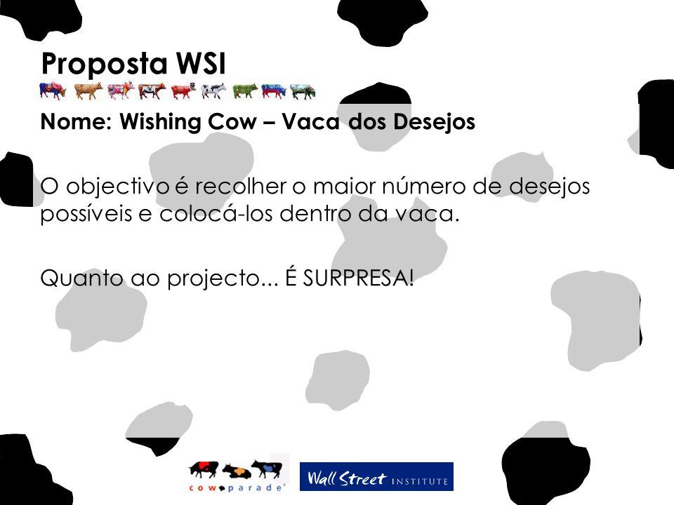 Proposta WSI Nome: Wishing Cow – Vaca dos Desejos O objectivo é recolher o maior número de desejos possíveis e colocá-los dentro da vaca. Quanto ao pr