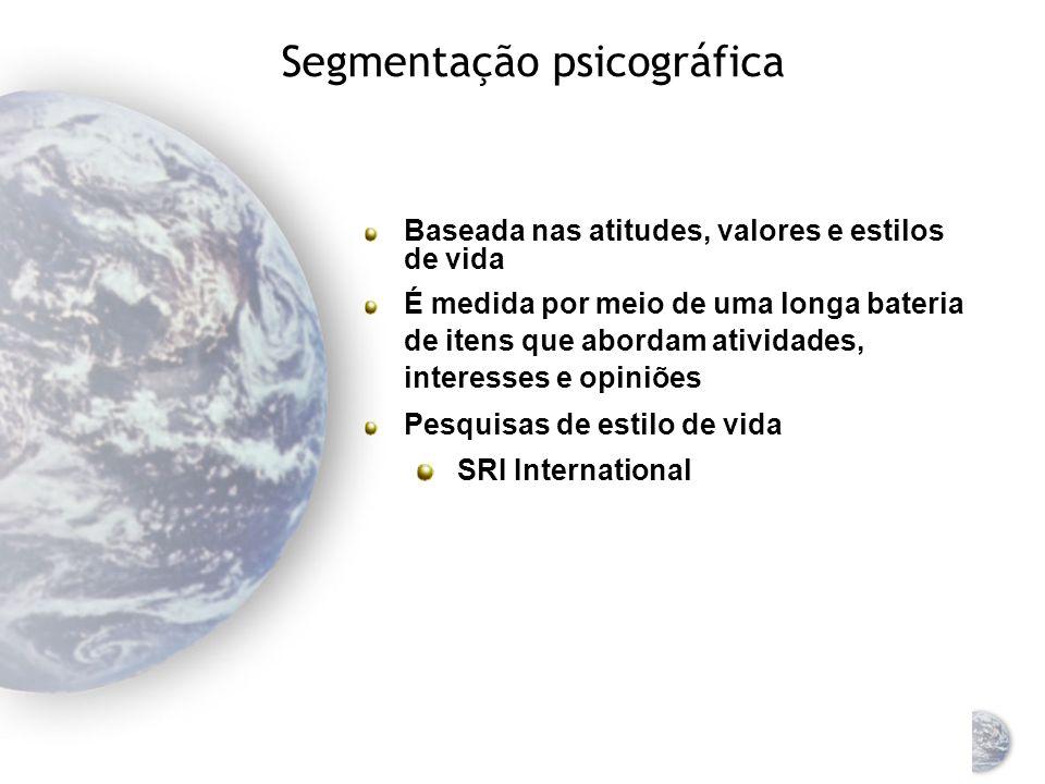 Critérios para a segmentação do mercado global Segmentação geográfica Segmentação demográfica Segmentação psicográfica Segmentação por comportamento Segmentação por benefícios Segmentação horizontal versus vertical