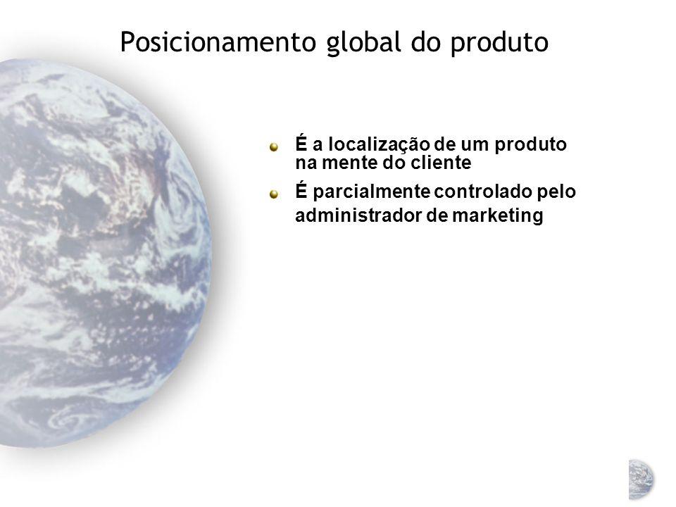 Seleção de uma estratégia global para o mercado-alvo Marketing global padronizado Marketing de massa, o mesmo composto de marketing para um mercado de compradores potenciais Marketing global concentrado Direcionado para um segmento específico de um mercado global Marketing global diferenciado Dois ou mais segmentos distintos