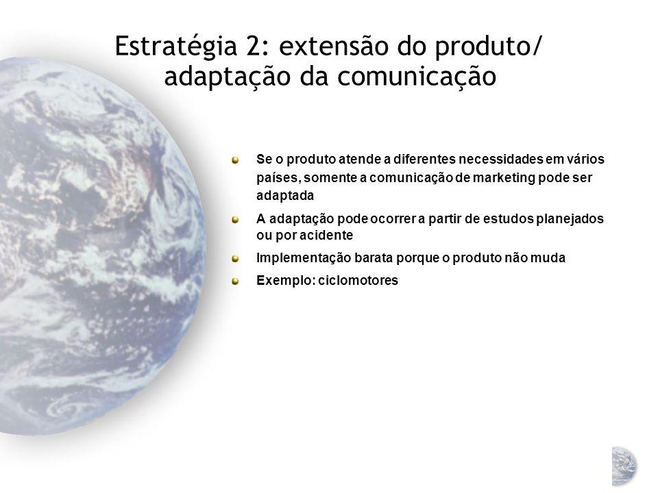 Estratégia 1: extensão do produto/ comunicação (dupla extensão) A empresa vende exatamente o mesmo produto com a mesma propaganda, como usado no país