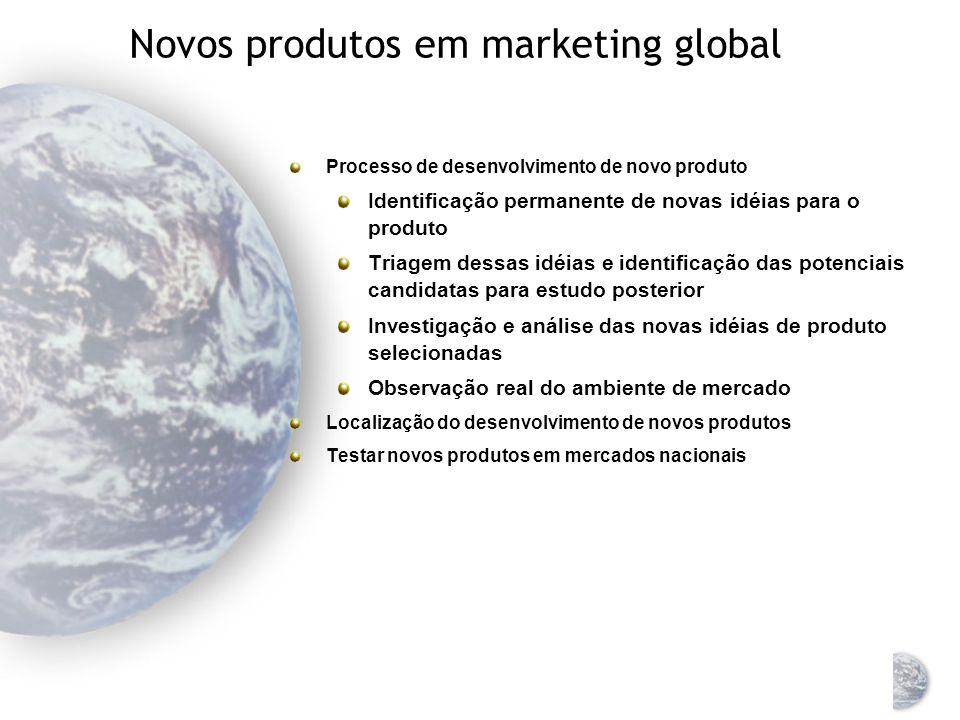 Novos produtos em marketing global Novo para o consumidor e para a empresa (inovação ou invenção) Novo para o consumidor mas não para a empresa (expan