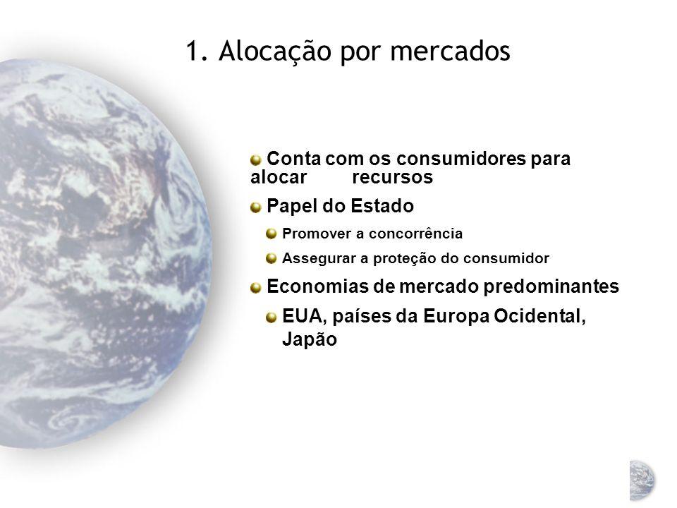 Sistemas econômicos Três tipos de sistemas econômicos: Capitalista Socialista Misto Classificação baseada no método dominante de alocação de recursos Alocação por mercados Alocação comandatária Sistema misto