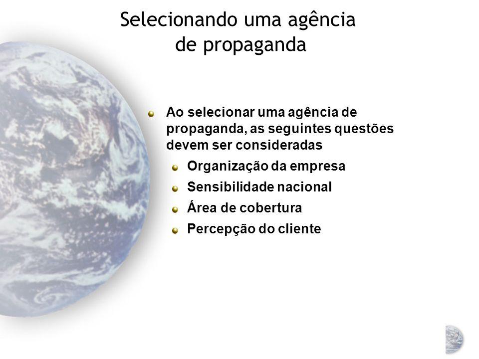 Selecionando uma agência de propaganda Opções Criar os anúncios internamente Contratar uma agência terceirizada Combinar as duas estratégias Uma ou mais agências externas Podem desenvolver campanhas de produtos para vários países ou em uma base global