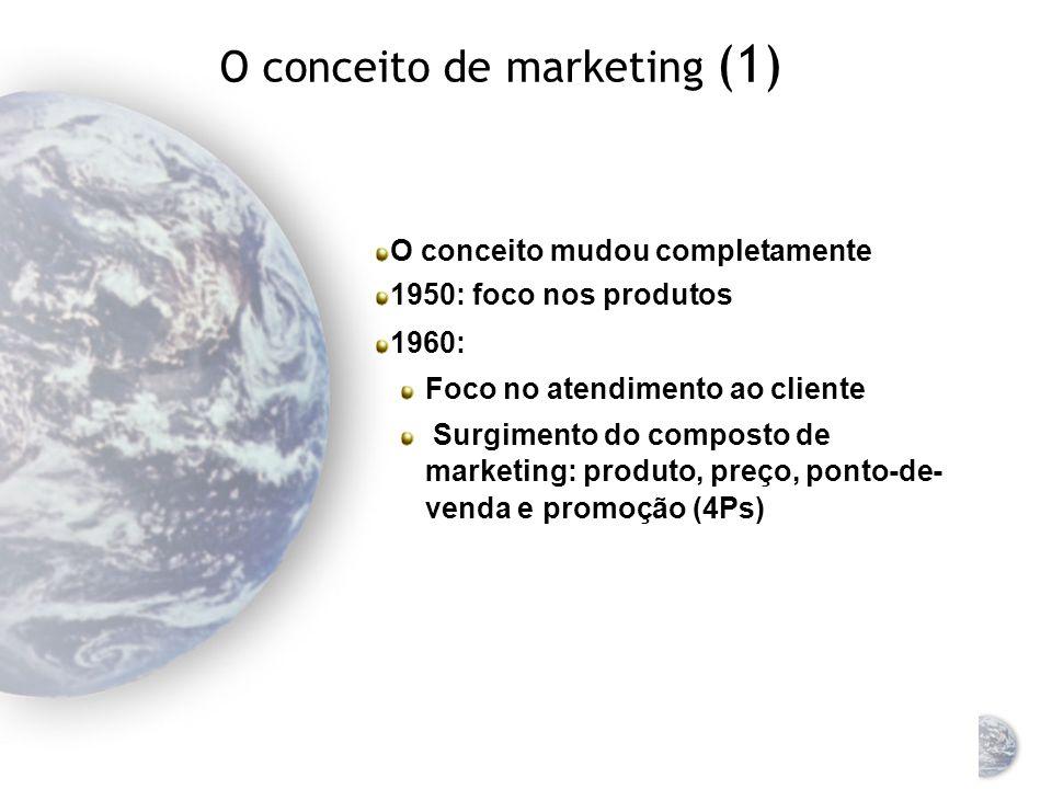 Marketing: uma disciplina universal O processo de focalizar os recursos e objetivos de uma organização nas necessidades e oportunidades do ambiente Um conjunto de conceitos, ferramentas, teorias, práticas, procedimentos e experiências Embora o marketing seja uma disciplina universal, as práticas dessa disciplina variam de um país para outro