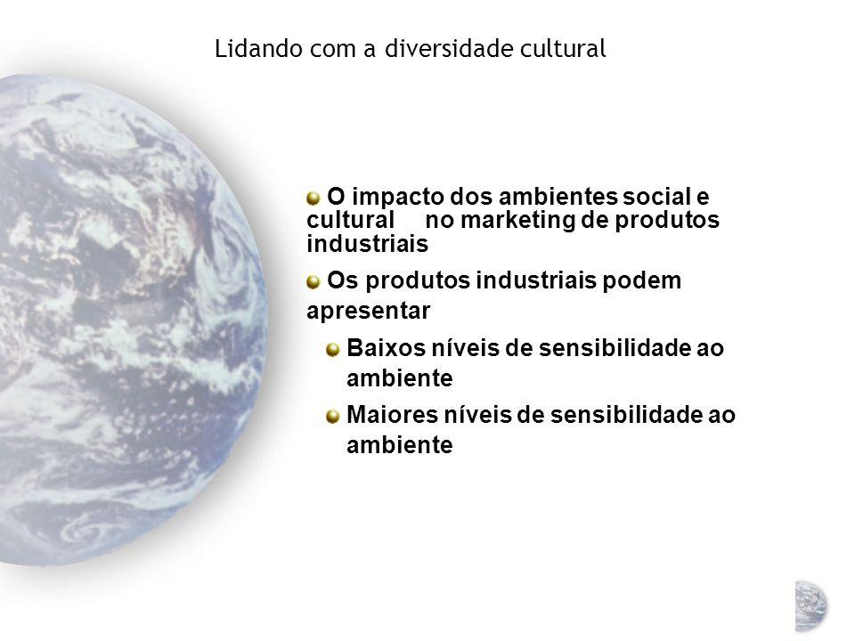 Abordagem analítica de fatores culturais Sensibilidade ao ambiente: até que ponto os produtos devem ser adaptados para atender às necessidades culturais específicas de diferentes mercados nacionais Produtos sensíveis ao ambiente Requerem uma adaptação significativa aos ambientes dos diversos mercados globais Produtos não-sensíveis ao ambiente Não requerem adaptação significativa