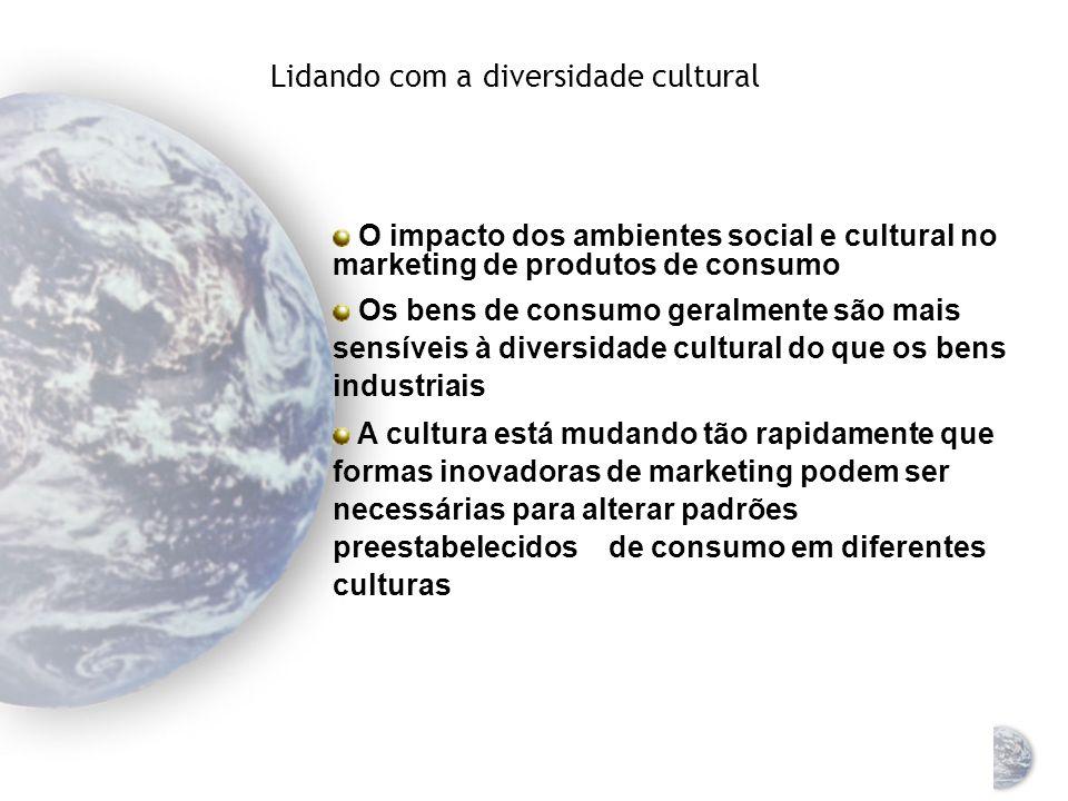Lidando com a diversidade cultural O impacto dos ambientes social e cultural no marketing de produtos industriais Os produtos industriais podem apresentar Baixos níveis de sensibilidade ao ambiente Maiores níveis de sensibilidade ao ambiente