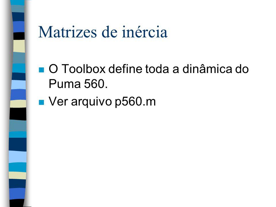 Matrizes de inércia n O Toolbox define toda a dinâmica do Puma 560. n Ver arquivo p560.m