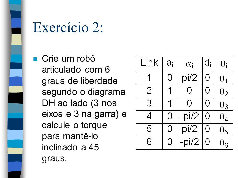 Exercício 2: n Crie um robô articulado com 6 graus de liberdade segundo o diagrama DH ao lado (3 nos eixos e 3 na garra) e calcule o torque para mantê