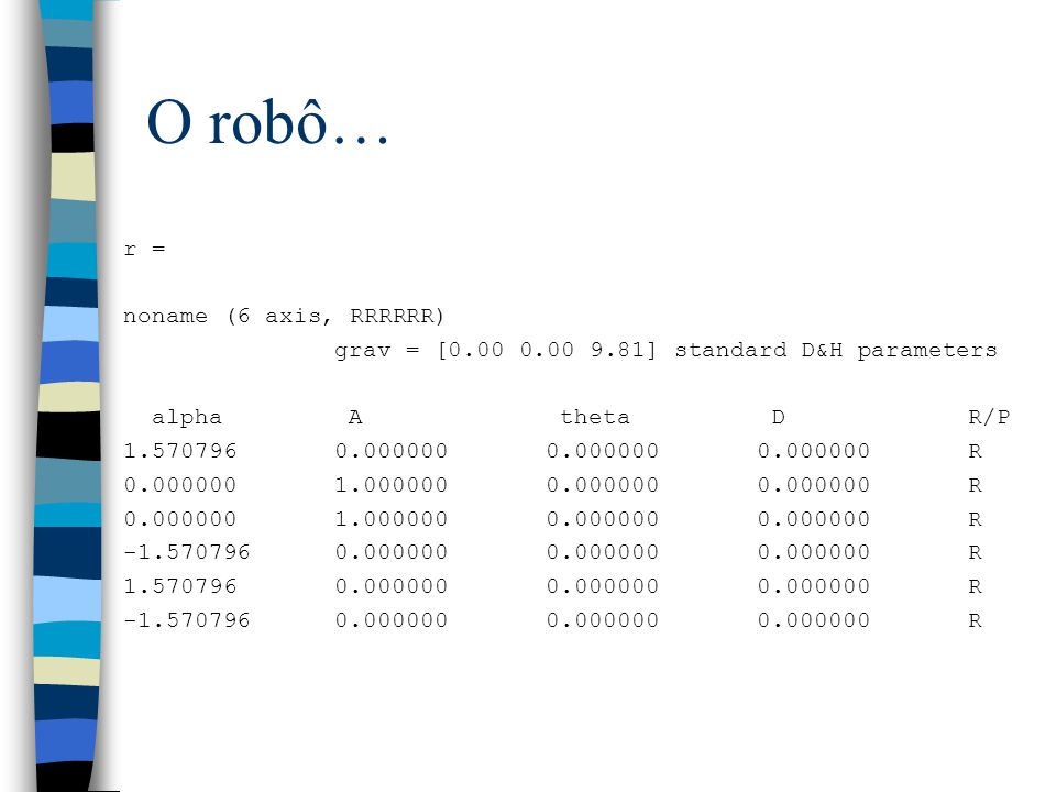 O robô… r = noname (6 axis, RRRRRR) grav = [0.00 0.00 9.81] standard D&H parameters alpha A theta DR/P 1.5707960.0000000.0000000.000000R 0.0000001.000