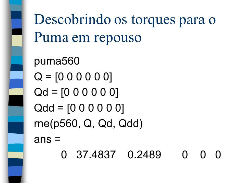 Descobrindo os torques para o Puma em repouso puma560 Q = [0 0 0 0 0 0] Qd = [0 0 0 0 0 0] Qdd = [0 0 0 0 0 0] rne(p560, Q, Qd, Qdd) ans = 0 37.4837 0