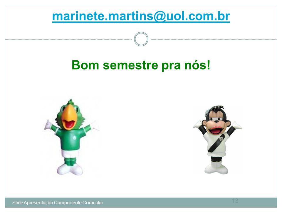 marinete.martins@uol.com.br Bom semestre pra nós! 13 Slide Apresentação Componente Curricular