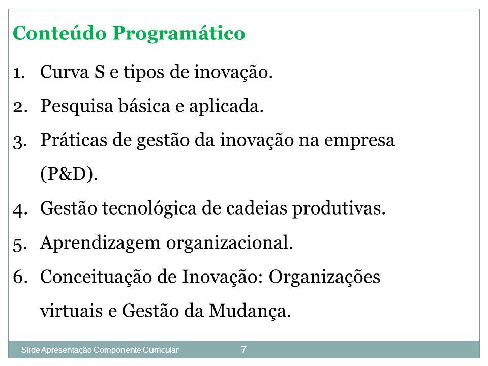 Slide 1 7 Conteúdo Programático 1.Curva S e tipos de inovação.
