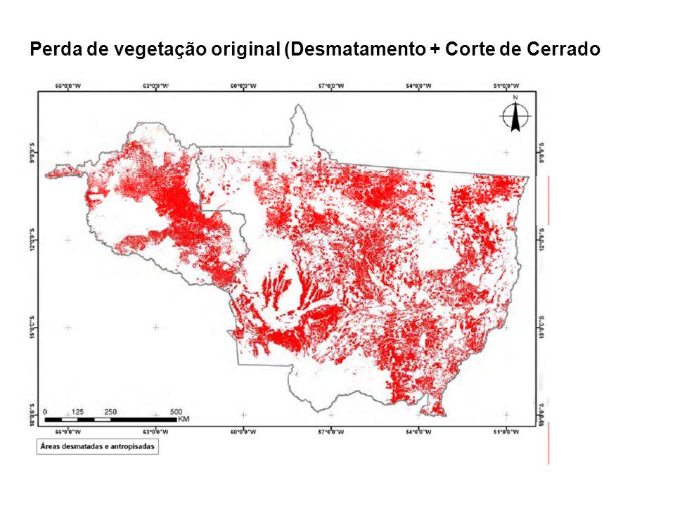 Perda de vegetação original (Desmatamento + Corte de Cerrado