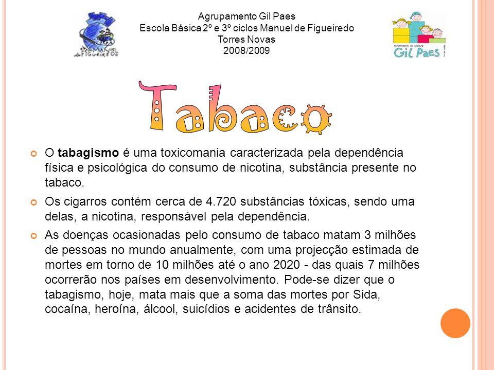 O tabagismo é uma toxicomania caracterizada pela dependência física e psicológica do consumo de nicotina, substância presente no tabaco. Os cigarros c