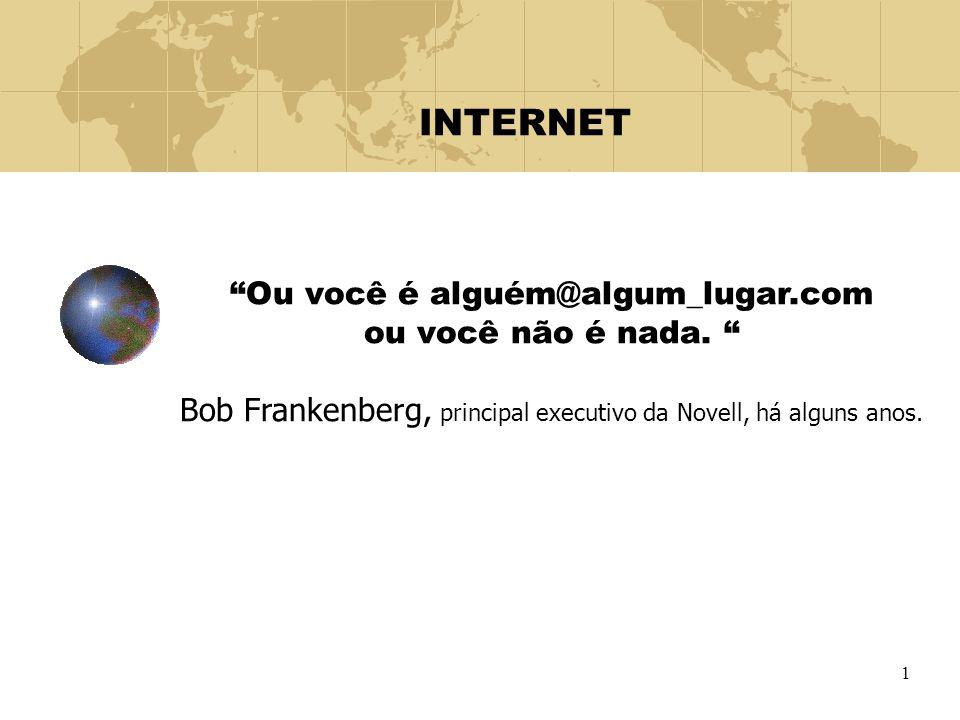 """1 INTERNET """"Ou você é alguém@algum_lugar.com ou você não é nada. """" Bob Frankenberg, principal executivo da Novell, há alguns anos."""