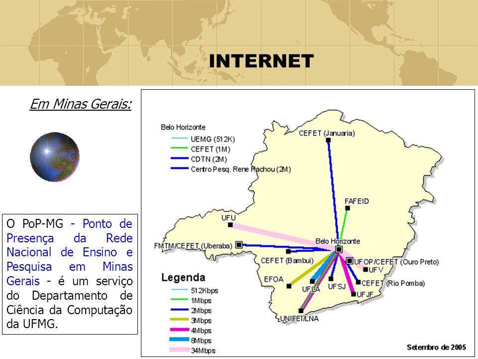 10 INTERNET Em Minas Gerais: O PoP-MG - Ponto de Presença da Rede Nacional de Ensino e Pesquisa em Minas Gerais - é um serviço do Departamento de Ciên