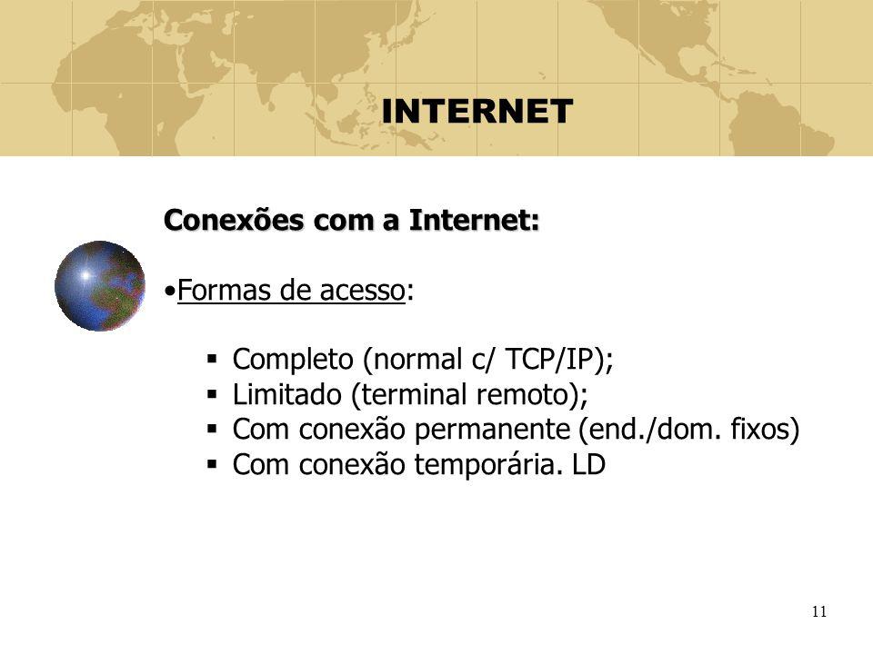 11 INTERNET Conexões com a Internet: Formas de acesso:  Completo (normal c/ TCP/IP);  Limitado (terminal remoto);  Com conexão permanente (end./dom