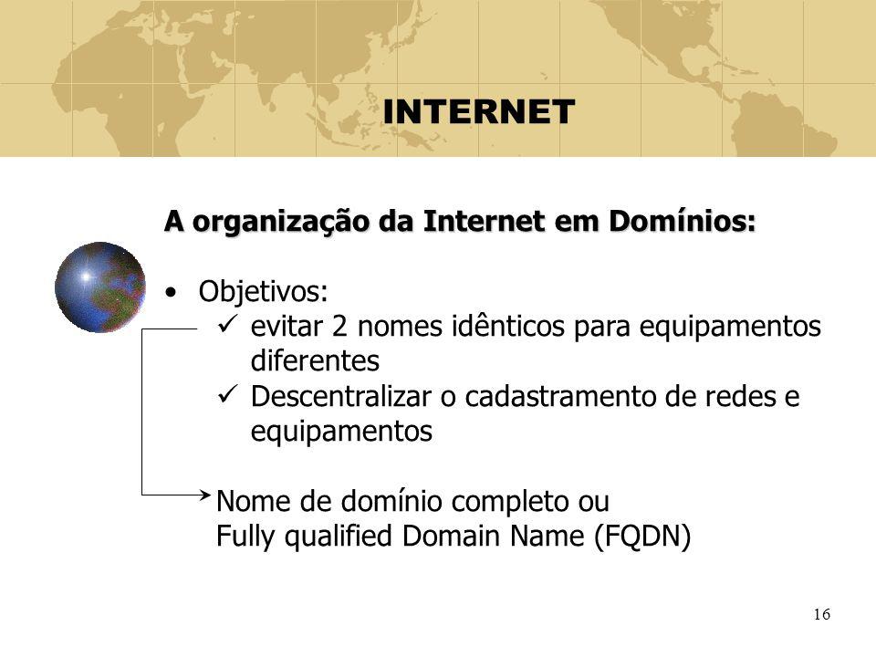 16 INTERNET A organização da Internet em Domínios: Objetivos: evitar 2 nomes idênticos para equipamentos diferentes Descentralizar o cadastramento de