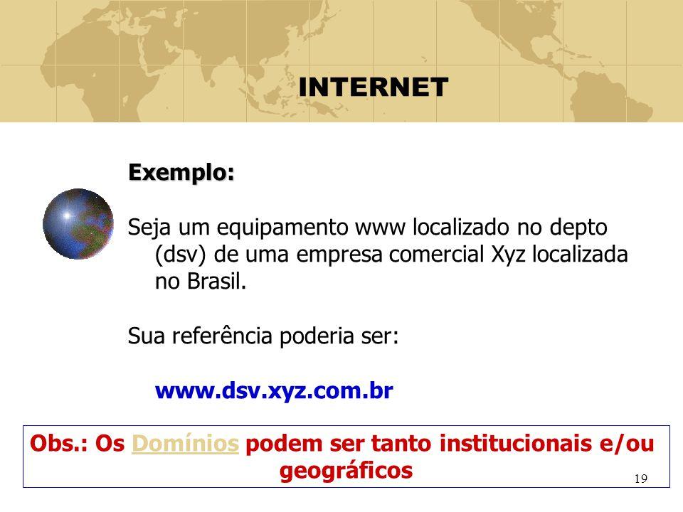 19 INTERNET Exemplo: Seja um equipamento www localizado no depto (dsv) de uma empresa comercial Xyz localizada no Brasil. Sua referência poderia ser: