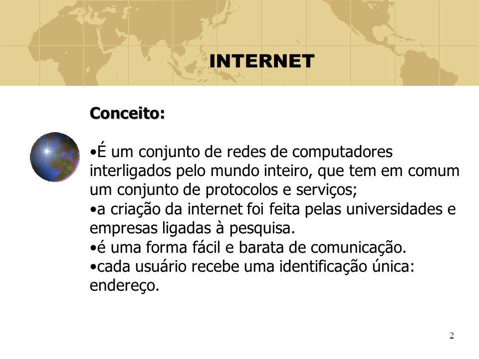 2 INTERNET Conceito: É um conjunto de redes de computadores interligados pelo mundo inteiro, que tem em comum um conjunto de protocolos e serviços; a