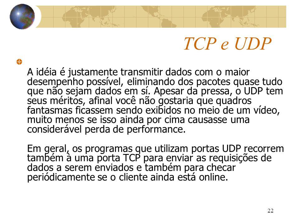 22 TCP e UDP A idéia é justamente transmitir dados com o maior desempenho possível, eliminando dos pacotes quase tudo que não sejam dados em sí. Apesa