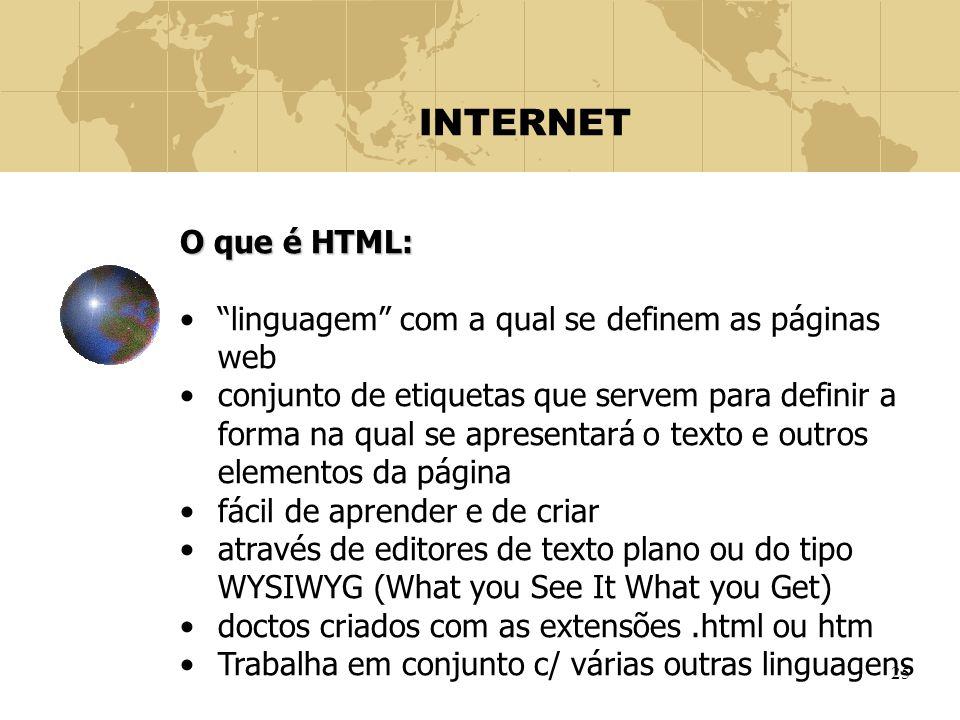 """25 INTERNET O que é HTML: """"linguagem"""" com a qual se definem as páginas web conjunto de etiquetas que servem para definir a forma na qual se apresentar"""
