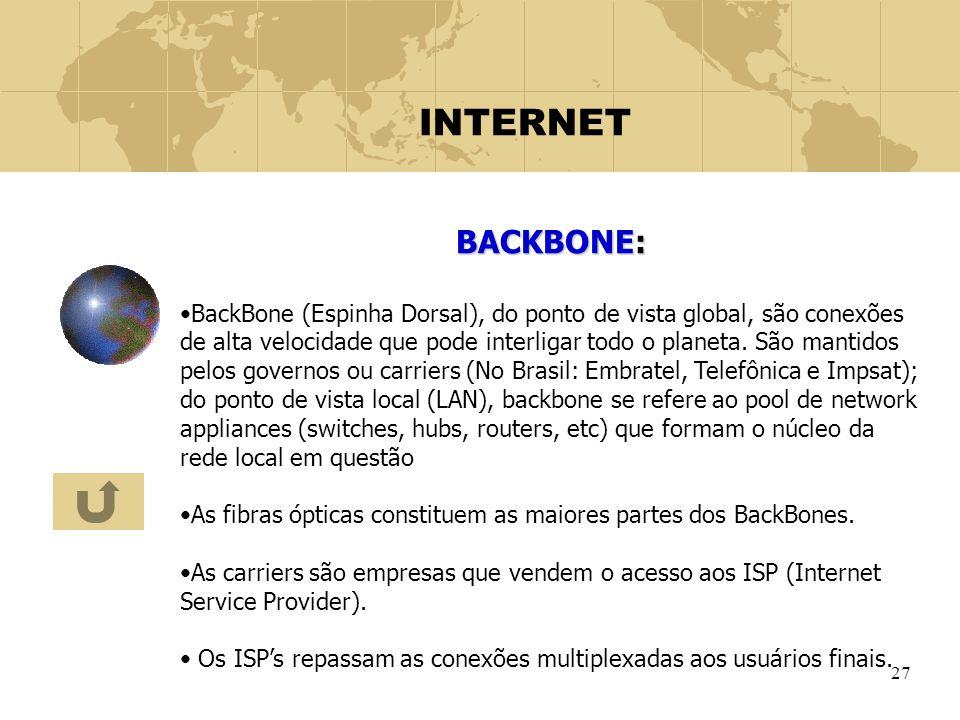 27 INTERNET BACKBONE: BackBone (Espinha Dorsal), do ponto de vista global, são conexões de alta velocidade que pode interligar todo o planeta. São man