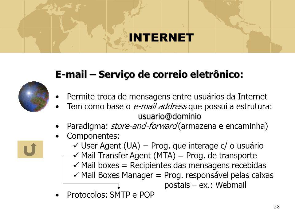 28 INTERNET E-mail – Serviço de correio eletrônico: Permite troca de mensagens entre usuários da Internet Tem como base o e-mail address que possui a
