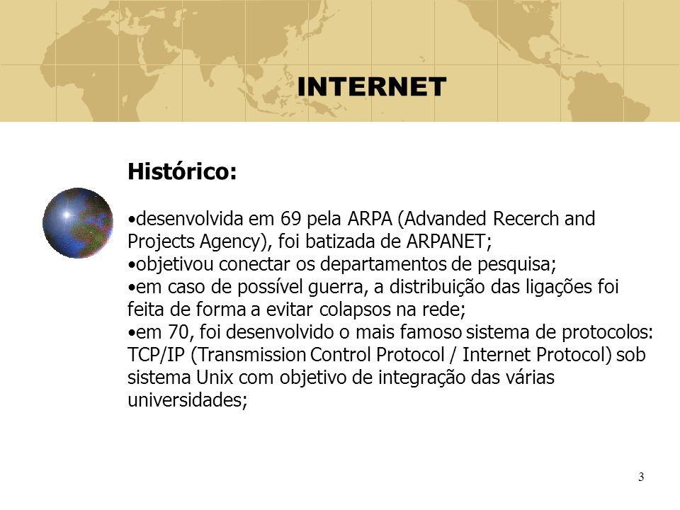 3 INTERNET Histórico: desenvolvida em 69 pela ARPA (Advanded Recerch and Projects Agency), foi batizada de ARPANET; objetivou conectar os departamento