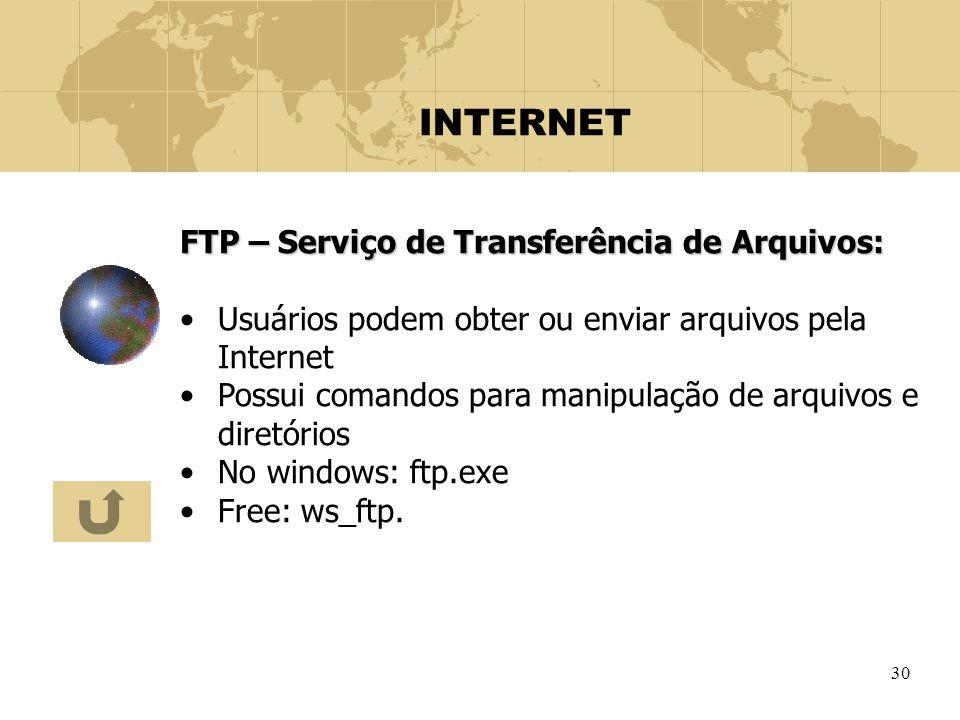 30 INTERNET FTP – Serviço de Transferência de Arquivos: Usuários podem obter ou enviar arquivos pela Internet Possui comandos para manipulação de arqu