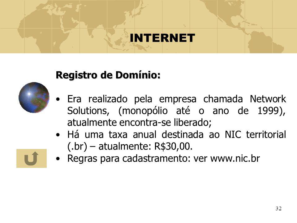32 INTERNET Registro de Domínio: Era realizado pela empresa chamada Network Solutions, (monopólio até o ano de 1999), atualmente encontra-se liberado;