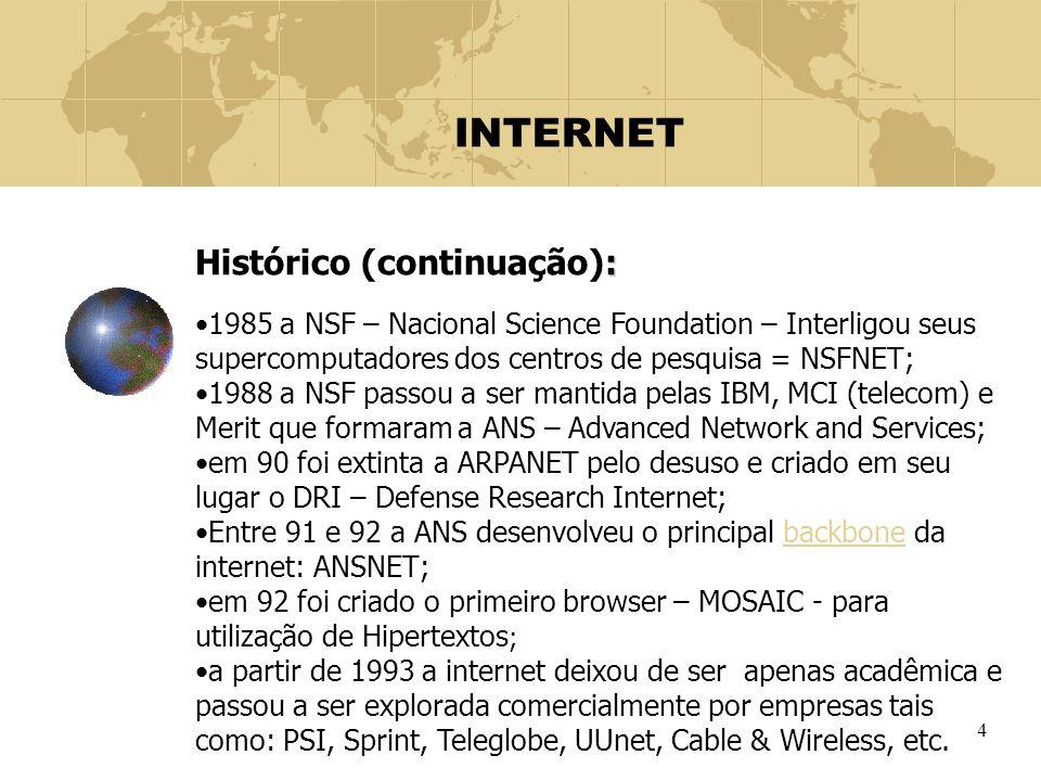 4 INTERNET : Histórico (continuação): 1985 a NSF – Nacional Science Foundation – Interligou seus supercomputadores dos centros de pesquisa = NSFNET; 1