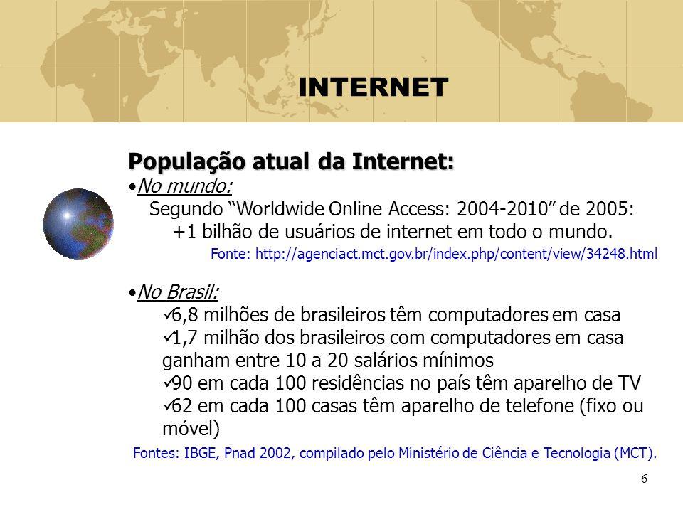 """6 INTERNET População atual da Internet: No mundo: Segundo """"Worldwide Online Access: 2004-2010"""" de 2005: +1 bilhão de usuários de internet em todo o mu"""