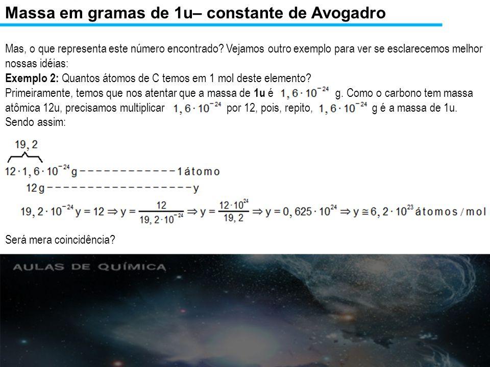 Massa em gramas de 1u– constante de Avogadro Para tirar qualquer receio, vamos extrapolar.