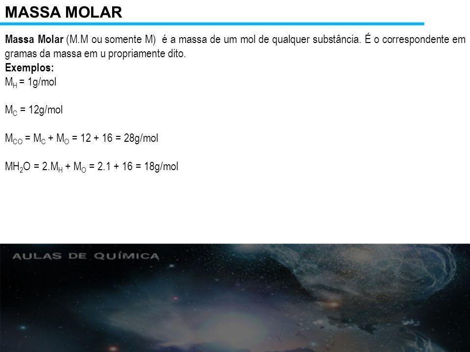 Resumo geral – teoria atômico molecular Massa Atômica é a massa de 1 átomo ou molécula dada em u.