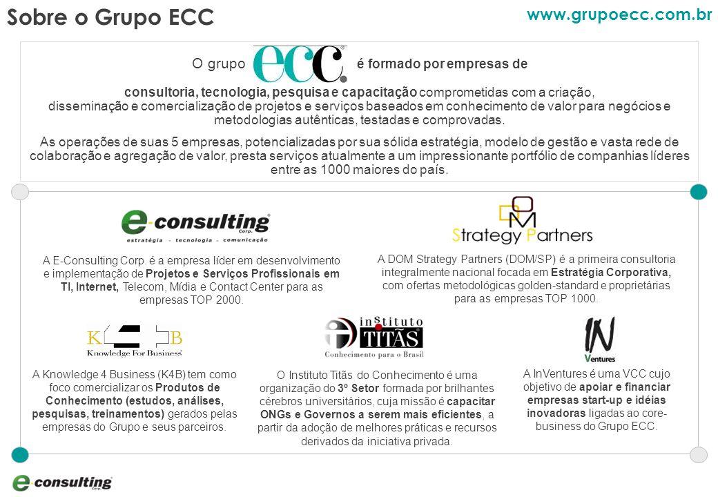3 Sobre o Grupo ECC O grupo é formado por empresas de consultoria, tecnologia, pesquisa e capacitação comprometidas com a criação, disseminação e comercialização de projetos e serviços baseados em conhecimento de valor para negócios e metodologias autênticas, testadas e comprovadas.