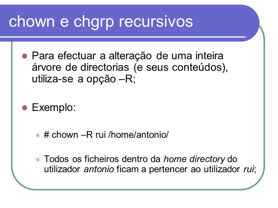 chown e chgrp recursivos Para efectuar a alteração de uma inteira árvore de directorias (e seus conteúdos), utiliza-se a opção –R; Exemplo: # chown –R rui /home/antonio/ Todos os ficheiros dentro da home directory do utilizador antonio ficam a pertencer ao utilizador rui;