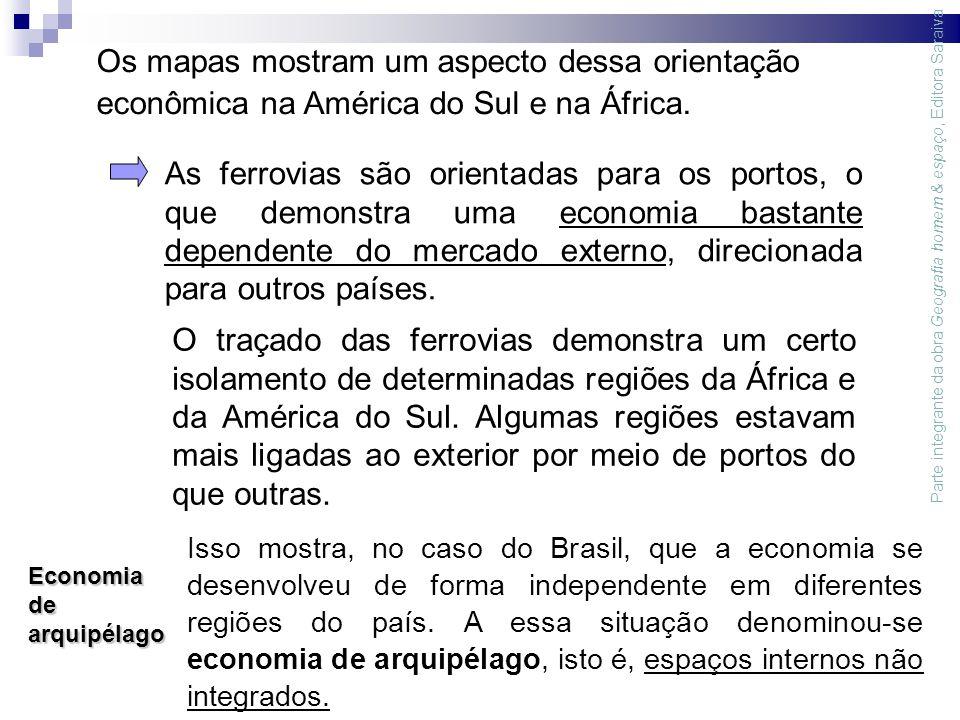 Os mapas mostram um aspecto dessa orientação econômica na América do Sul e na África.