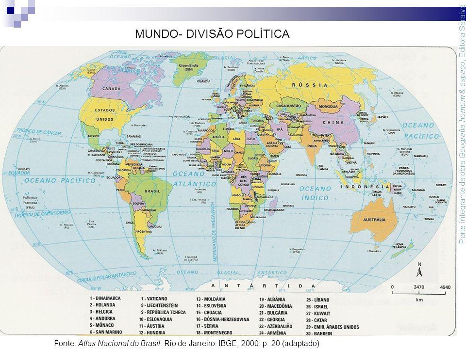 MUNDO- DIVISÃO POLÍTICA Parte integrante da obra Geografia homem & espaço, Editora Saraiva Fonte: Atlas Nacional do Brasil.
