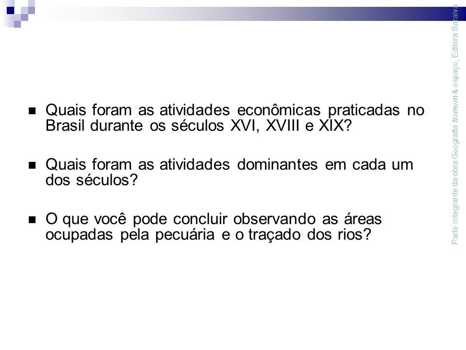 Quais foram as atividades econômicas praticadas no Brasil durante os séculos XVI, XVIII e XIX.