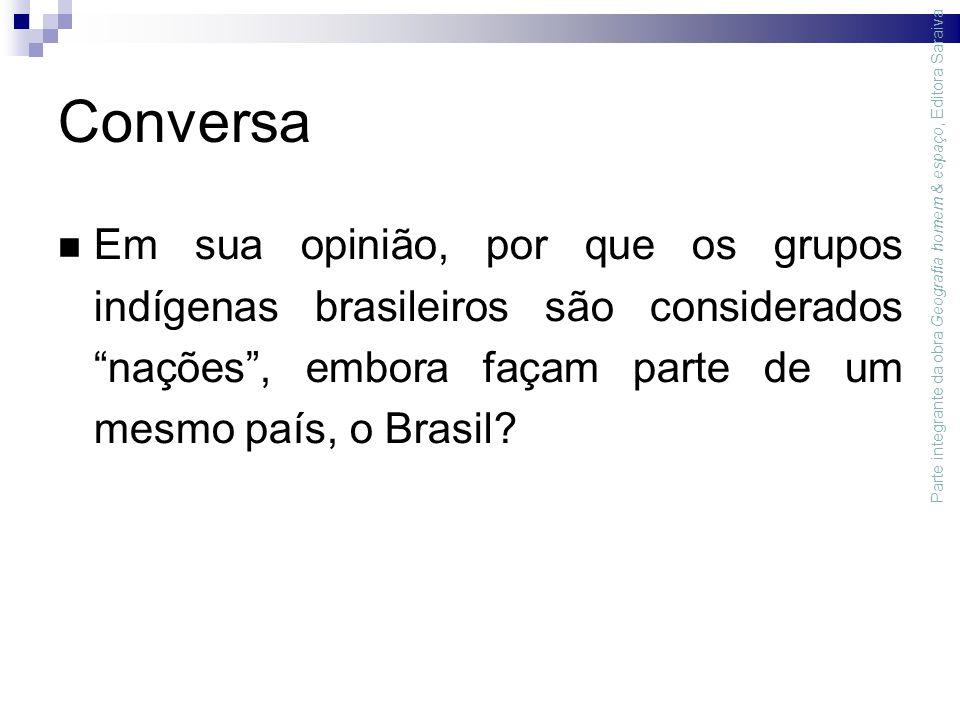 Conversa Em sua opinião, por que os grupos indígenas brasileiros são considerados nações , embora façam parte de um mesmo país, o Brasil.