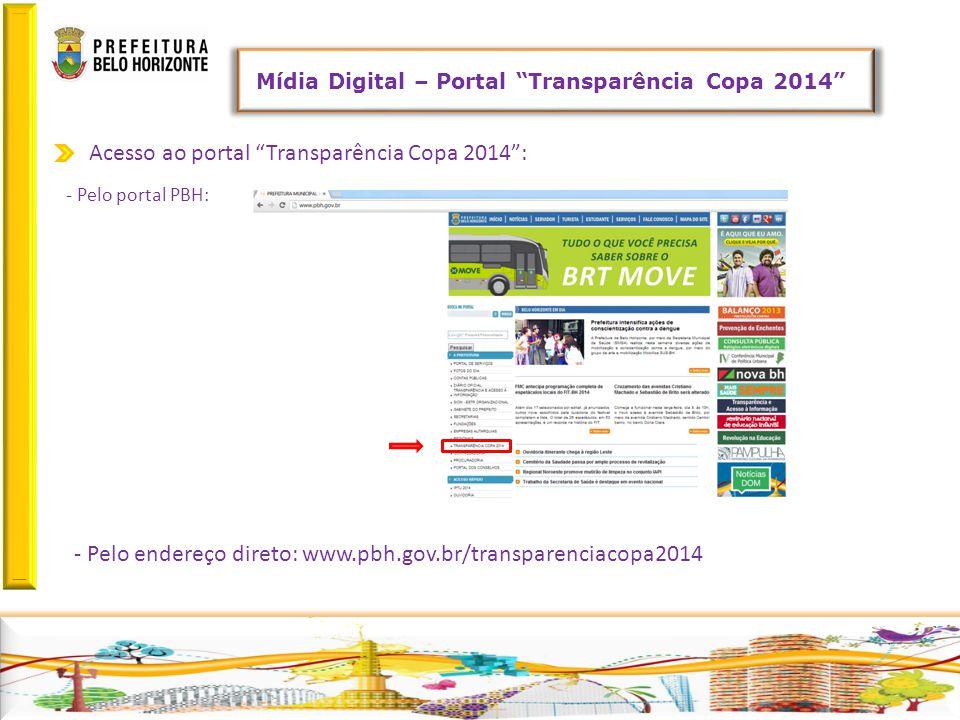 Acesso ao portal Transparência Copa 2014 : - Pelo portal PBH: - Pelo endereço direto: www.pbh.gov.br/transparenciacopa2014 Mídia Digital – Portal Transparência Copa 2014