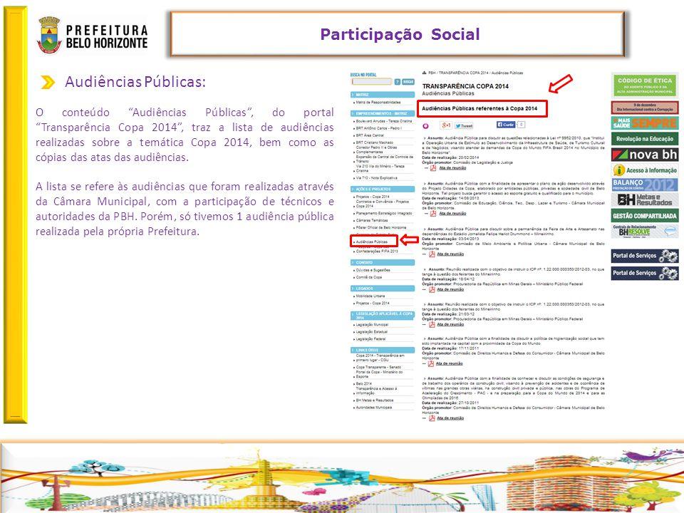 Retornar Audiências Públicas: Participação Social O conteúdo Audiências Públicas , do portal Transparência Copa 2014 , traz a lista de audiências realizadas sobre a temática Copa 2014, bem como as cópias das atas das audiências.