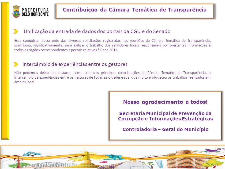 Retornar Contribuição da Câmara Temática de Transparência Unificação da entrada de dados dos portais da CGU e do Senado Não podemos deixar de destacar