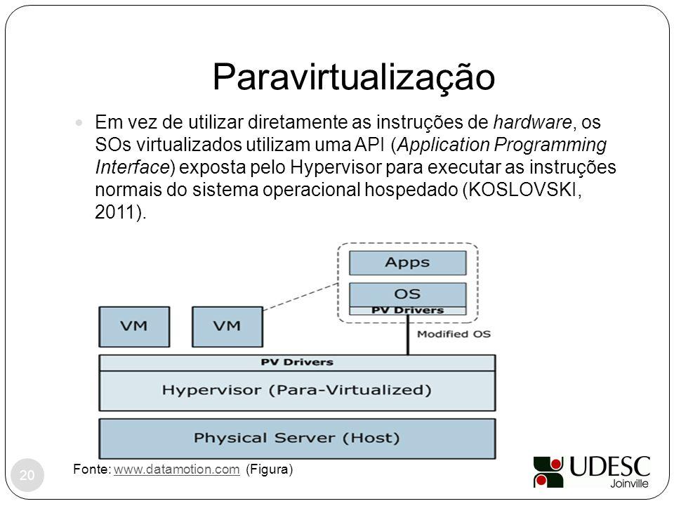Paravirtualização Fonte: www.datamotion.com (Figura)www.datamotion.com Em vez de utilizar diretamente as instruções de hardware, os SOs virtualizados