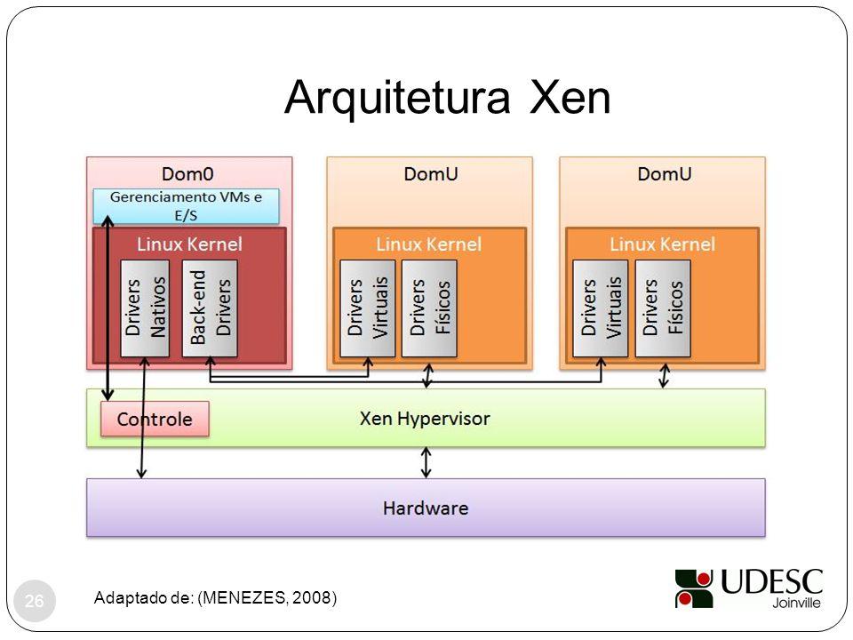 Arquitetura Xen Adaptado de: (MENEZES, 2008) 26