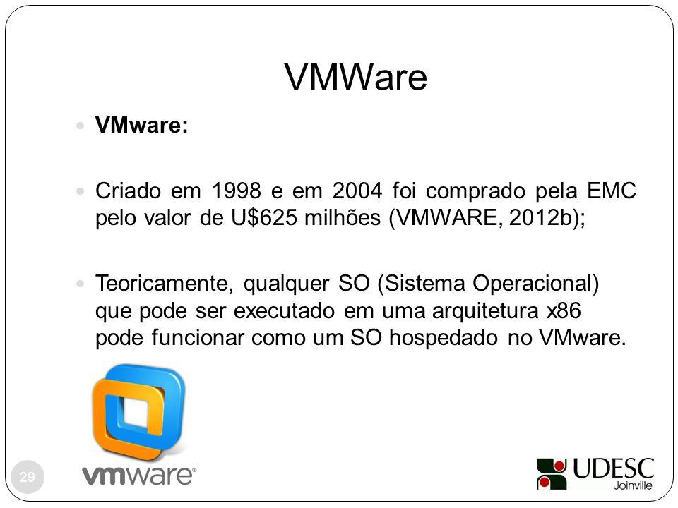 VMWare VMware: Criado em 1998 e em 2004 foi comprado pela EMC pelo valor de U$625 milhões (VMWARE, 2012b); Teoricamente, qualquer SO (Sistema Operacio